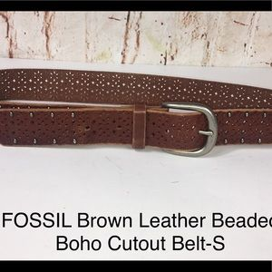Fossil Studded Cutout Boho Brown Leather Belt-S